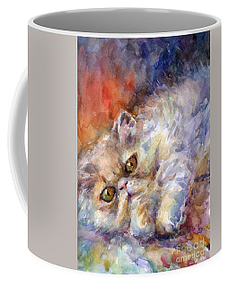 Persian Cat Painting Coffee Mug by Svetlana Novikova