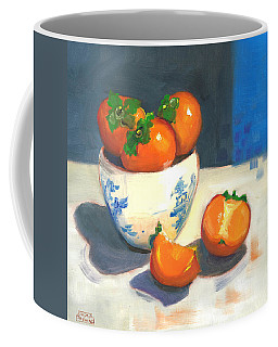 Coffee Mug featuring the painting Persimmons by Susan Thomas