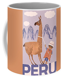 Peru, Boy With Lama, Vintage Travel Poster Coffee Mug