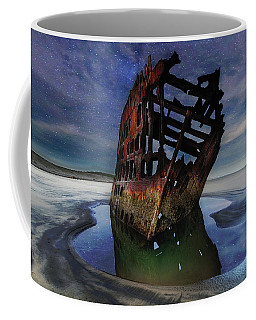 Peter Iredale Shipwreck Under Starry Night Sky Coffee Mug