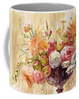 Petite Apples In Floral Coffee Mug by Judith Levins