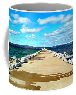 Coffee Mug featuring the photograph Petoskey Pierhead Lighthouse by Michael Rucker