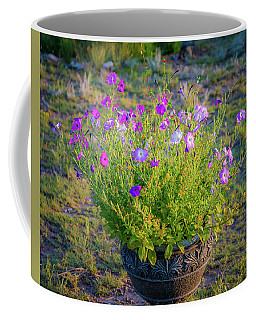 Coffee Mug featuring the photograph Petunias Golden Hour by John Brink