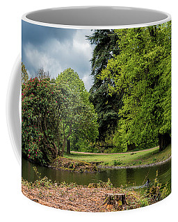 Coffee Mug featuring the photograph Petworth Lake With Dog by Michael Hope