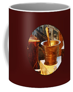 Coffee Mug featuring the photograph Pharmacist - Brass Mortar And Pestle by Susan Savad