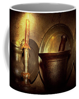 Coffee Mug featuring the photograph Pharmacist - Pestle - Open Late by Mike Savad