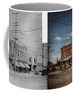 Coffee Mug featuring the photograph Pharmacy - The Corner Drugstore 1910 - Side By Side by Mike Savad