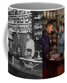 Coffee Mug featuring the photograph Pharmacy - The Dispensing Chemist 1918 - Side By Side by Mike Savad