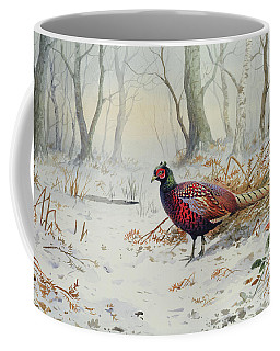 Pheasants In Snow Coffee Mug