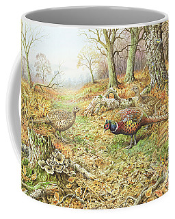 Pheasants With Blue Tits Coffee Mug