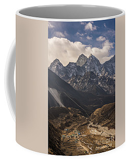 Coffee Mug featuring the photograph Pheriche In The Valley by Mike Reid