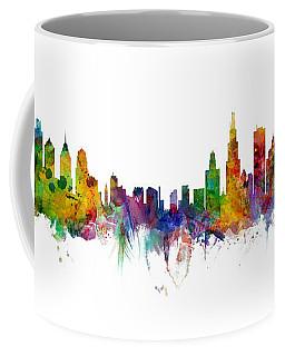 Philadelphia And Chicago Skylines Mashup Coffee Mug