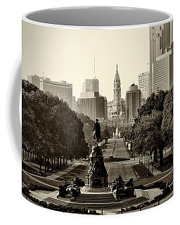 Philadelphia Benjamin Franklin Parkway In Sepia Coffee Mug by Bill Cannon