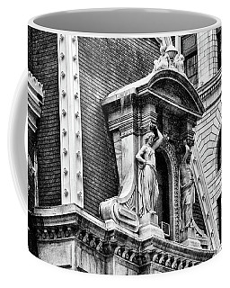 Coffee Mug featuring the photograph Philadelphia City Hall Window In Black And White by Bill Cannon