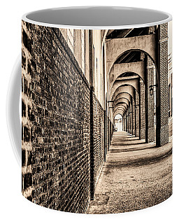 Coffee Mug featuring the photograph Philadelphia - Franklin Field Archway In Sepia by Bill Cannon
