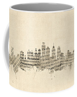Philadelphia Pennsylvania Skyline Sheet Music Cityscape Coffee Mug