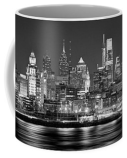 Philadelphia Philly Skyline At Night From East Black And White Bw Coffee Mug