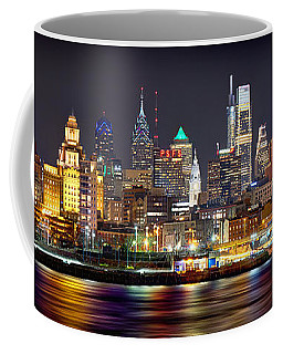 Philadelphia Philly Skyline At Night From East Color Coffee Mug
