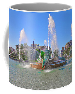 Coffee Mug featuring the photograph Philadelphia - Swann Fountain At Logan Square by Bill Cannon