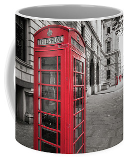 Coffee Mug featuring the photograph Phone Booths In London by James Udall