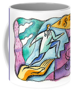 Coffee Mug featuring the painting Physician And Money by Leon Zernitsky
