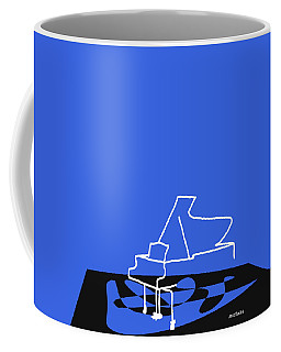 Coffee Mug featuring the digital art Piano In Blue by Jazz DaBri
