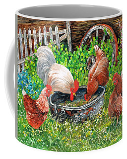 Coffee Mug featuring the painting Pickin' Peckin' Chickens by Val Stokes