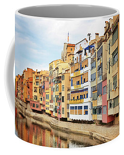 Picturesque Buildings Along The River In Girona, Catalonia Coffee Mug
