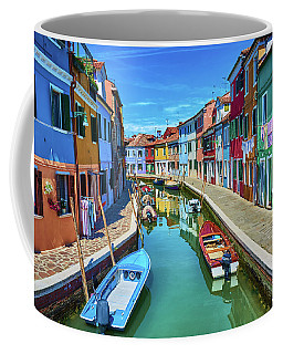 Picturesque Buildings And Boats In Burano Coffee Mug