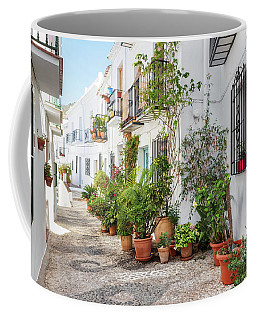 Picturesque Narrow Street Decorated With Plants Coffee Mug