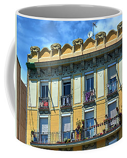 Coffee Mug featuring the photograph Picturesque Yellow Building In Barcelona by Eduardo Jose Accorinti