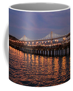 Pier 7 And Bay Bridge Lights At Sunset Coffee Mug