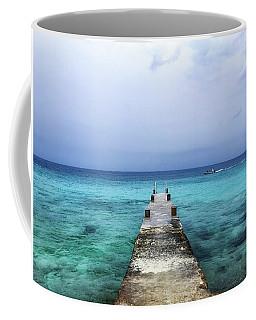 Pier On Caribbean Sea With Boat Coffee Mug