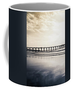 Coffee Mug featuring the photograph Pier On Duotone by Michael Hope