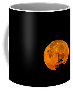 Coffee Mug featuring the photograph Pierhead Supermoon Silhouette by Everet Regal