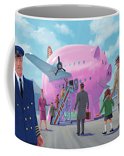 Coffee Mug featuring the digital art Pig Airline Airport by Martin Davey