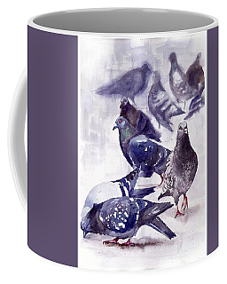 Pigeons Watercolor Coffee Mug