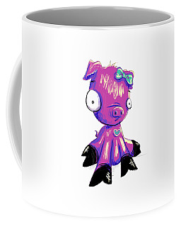 Coffee Mug featuring the digital art Piggy  by Lizzy Love