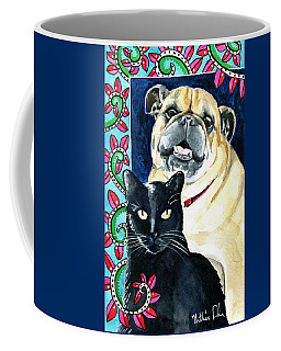 Coffee Mug featuring the painting Piglet Likes Watermelon - Pet Portraits by Dora Hathazi Mendes