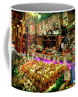 Pike Market Fresh Fish Coffee Mug by Greg Sigrist