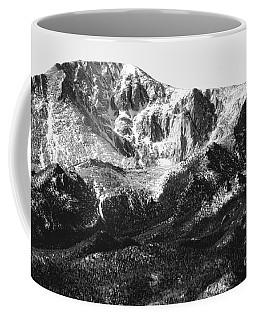 Pikes Peak Black And White In Wintertime Coffee Mug