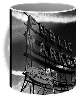 Pikes Place Market Sign Coffee Mug by Nick Gustafson