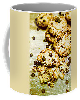 Pile Of Crumbled Chocolate Chip Cookies On Table Coffee Mug