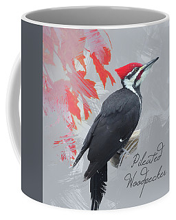 Coffee Mug featuring the photograph Pileated Woodpecker Watercolor Photo by Heidi Hermes