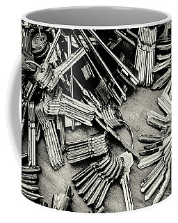 Piles Of Blank Keys In Monochrome Coffee Mug