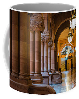 Coffee Mug featuring the photograph Pillar Hallway by Brad Wenskoski