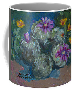 Coffee Mug featuring the painting Pin Cushion Cactus At Boyce Thompson Arboretum by Diane McClary