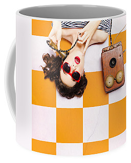 Coffee Mug featuring the photograph Pin-up Beauty Decision Making On Old Phone by Jorgo Photography - Wall Art Gallery