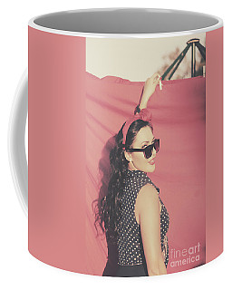 Pin Up Fifties Laundry Lady Hanging Out Red Linen Coffee Mug
