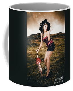 Pin Up Girl Standing In Field Under Summer Rain Coffee Mug